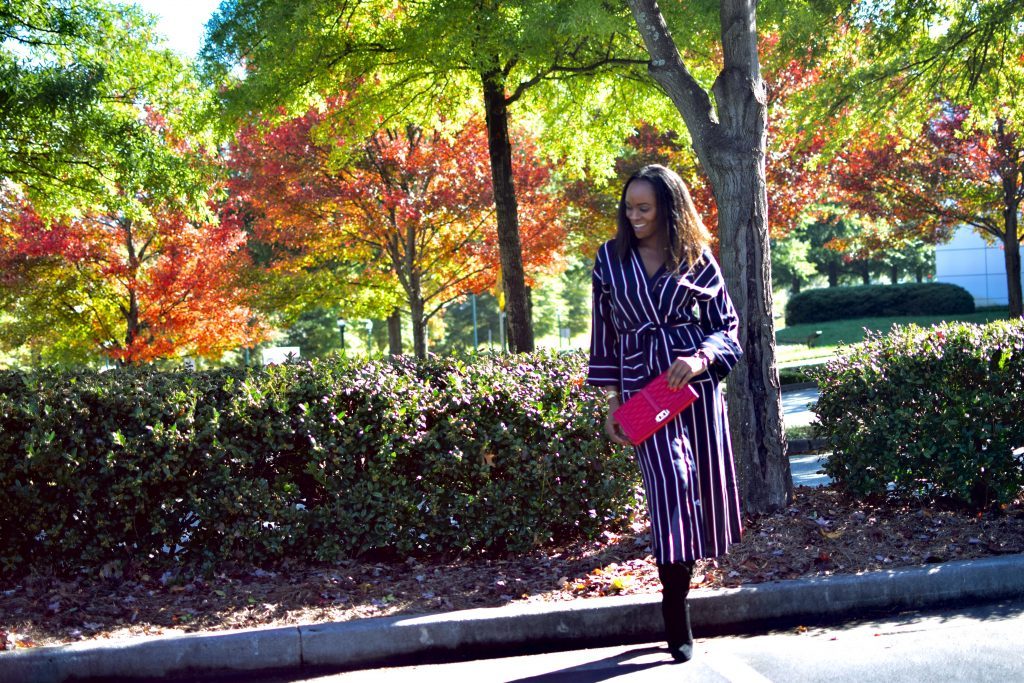 Long striped fashion nova kimono as dress