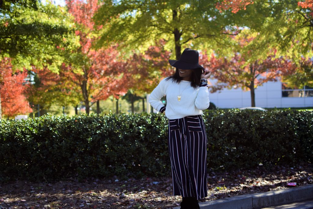 Long striped fashion nova kimono sweater and hat