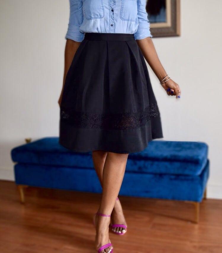 A-line midi skirts detail